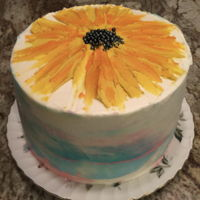Sunflower &watercolor Buttercream sunflower top with watercolor sides.