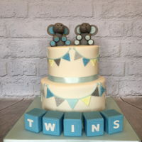Twins Baby Shower Cake Really enjoyed making the cute elephants