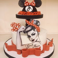 Vintage Girl Power /minnie Mouse Cake Granddaughter all grown up but still loves Minnie Mouse....all about the girl power.