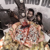 Walking Dead Cake All edible apart from the backdrop which the client wanted to add