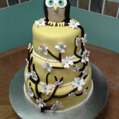 Dogwood And Owl Cake