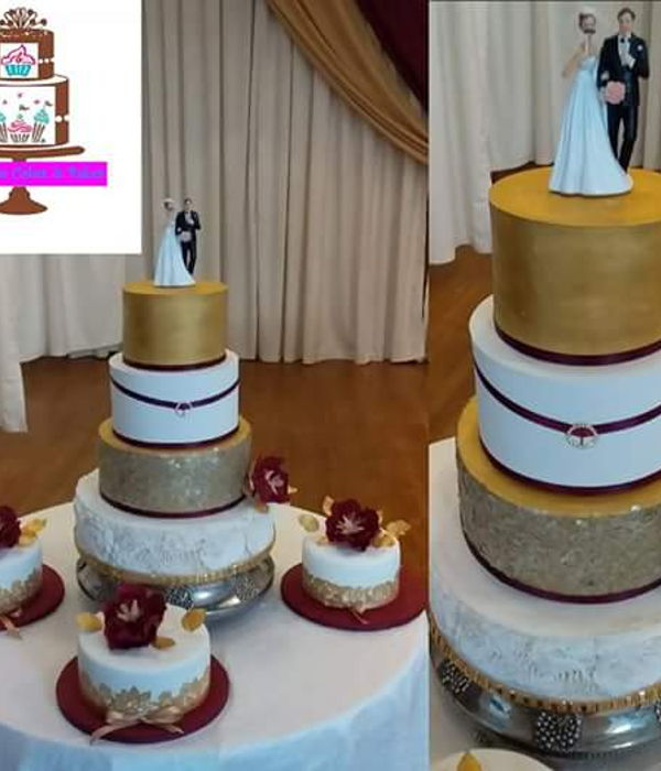 White, Gold And Burgundy Wedding Cakes