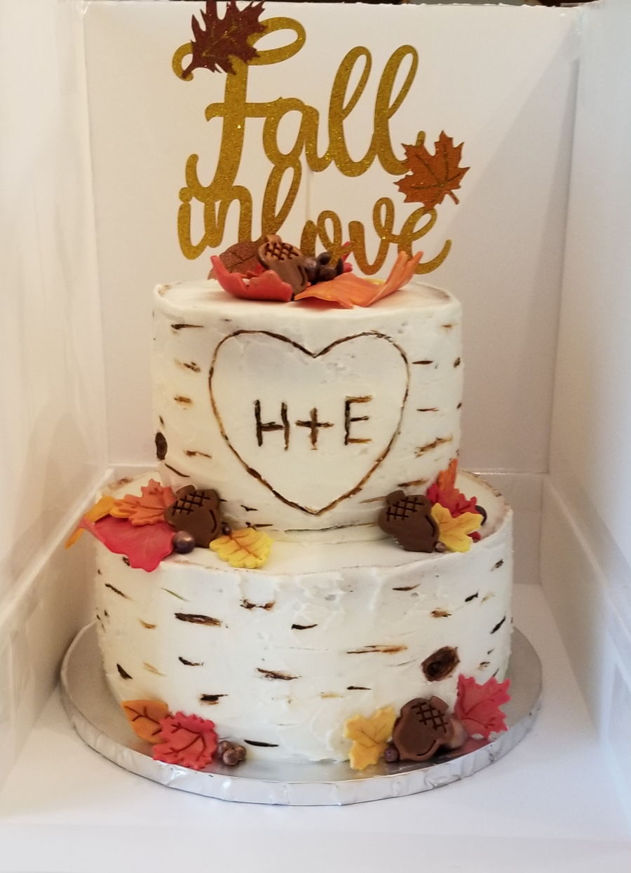 Autumn Leaves Bridal Shower Cake on Cake Central