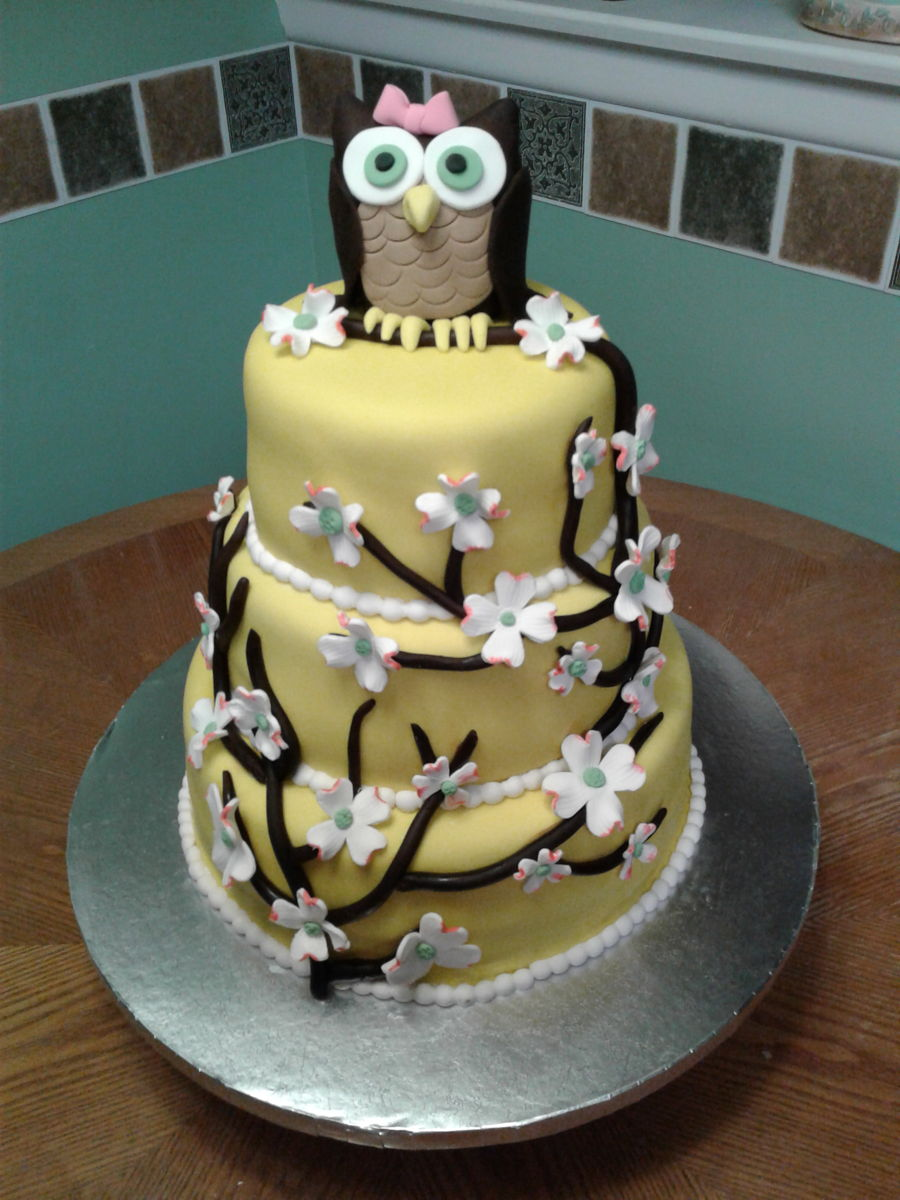 Dogwood And Owl Cake on Cake Central