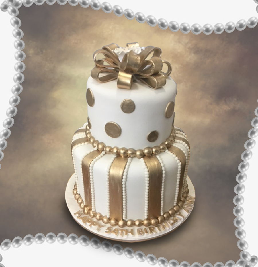 Golden Bow on Cake Central