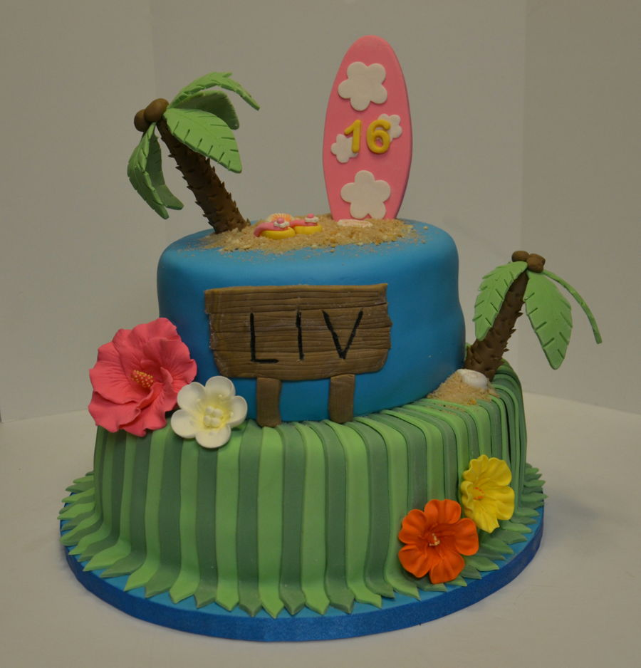 Strange Hawaiian Themed Birthday Cake Cakecentral Com Personalised Birthday Cards Epsylily Jamesorg