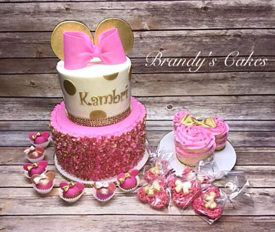 Peachy Minnie Mouse First Birthday Cakecentral Com Personalised Birthday Cards Veneteletsinfo
