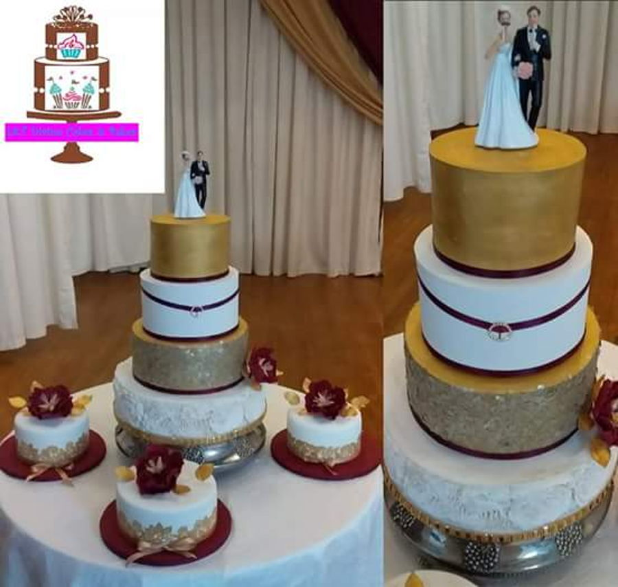 White Gold And Burgundy Wedding Cakes Cakecentralcom