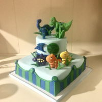 1St Birthday Dinosaur Cake Dinosaur cake with gum paste decorations