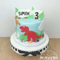 3Rd Birthday Dinosaur Cake Dinosaur cut-out cake for a 3rd birthday! Really happy with how this went because I was initially not sure what I was going to do!