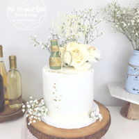 60Th Birthday Floral Cake Elegant birthday cake with custom champagne bottle details and glitter cake topper! A client ordered this for his mom after she tried my...