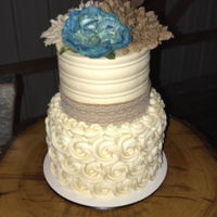 60Th Wedding Anniversary All buttercream with burlap accessories.