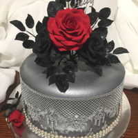 Black Roses A friend of mine requested black roses. The roses are made from fondant. The fondant covering the cake is from McCalls in Canada, dusted...