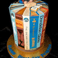 "Books Cake Library book cake for an avid reader. They are some of her favourite titles all handmade fondant on a 6"" double barrel cake. This is..."