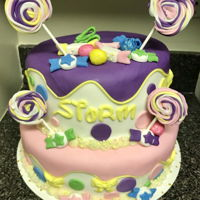 Candyland Birthday Cake Two tier fondant covered cake with fondant accents.