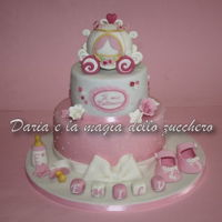 Carriage Baptism Cake Baby Girl baptism cake with princess carriage for a sweet baby girl