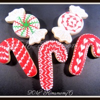 Christmas Candy Cookies NFSC with RI. Wet on wet designs.