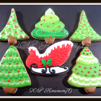 Christmas Tree And Sleigh Cookies NFSC with RI. Various wet on wet techniques with over top details.