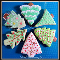 Christmas Tree Cookies NFSC with RI. Various icing techniques on different cookie tree shapes.