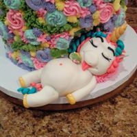 Chubby Unicorn Cake The chubby unicorn who ate too much cake.Vanilla rainbow cake inside, buttercream icing with fondant accents.
