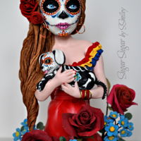 "Dia De Los Muerta My contribution to the Sugar Skulls 2018 collaboration for Dia de los Muerta, she is 9"" high, made of modeling chocolate and Saracino..."