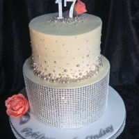 Diamonte Silver And White Cake Caught the last sun rays photographing this cake.. Wanted to catch a sparkle but it made the white buttercream look a little peachy, which...