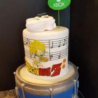 Dragonball Z And Music drum cake yellow and chocolate filling covered in fondant.