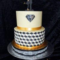 Engagement Cake Escher inspired engagement cake in black, gold, silver and cream. Fondant over buttercream with handmade topper