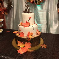 Fall Leaf And Tree Cake Base is buttercream and two top cakes are fondant