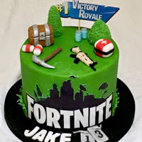 Fortnite Cake Chocolate cake with edible image and fondant accents