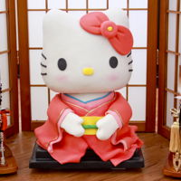 Geisha Hello Kitty Cake Hello Kitty is completely edible. Head is made of Rice Krispies and body is the cake.