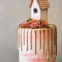 Gingerbread Birdhouse Drip Cake By Veronica Arthur My gingerbread birdhouse drip cake! All flowers, greenery are sculpted with gingerbread and baked! No gumpaste! Styling and photography by...