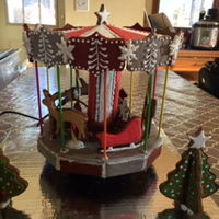 Gingerbread Carousel Decided to make something other than a house this year. The carousel sits on a motorized turntable so it spins. Had a little issue with the...