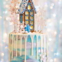 Gingerbread House Drip Cake By Veronica Arthur My latest gingerbread house drip cake! House made with my non spreading gingerbread dough. Snowflakes, silver beads and numbers made using...