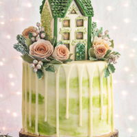 Gingerbread House Drip Cake By Veronica Arthur My latest gingerbread house drip cake! All flowers, greenery and berries are sculpted with gingerbread and baked! No gumpaste! Styling and...