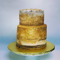 Gold Sparkle 90Th Birthday Cake Naked cake, gold sugar