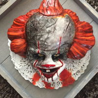 Halloween Cake Freaky halloween cake based on the clown from the movie It Pennywise.