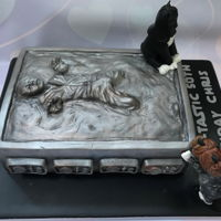 Hans Solo Frozen In Carbonite Cake Hans Solo frozen in carbonite cake complete with Darth Vader and Princess Leia cats