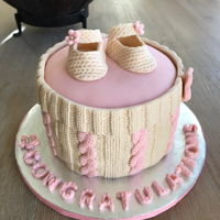 "Knit Baby Cake 6"" vanilla cake. A good opportunity to try out my new fondant molds."