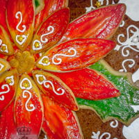 La Flor De La Noche Buena - Poinsettia Celebrating the coming of the Light of the World, a traditional flower for the Christmas time. Decorated gingerbread cookie base, and...