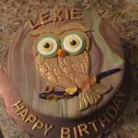 "Lexie's Owl Birthday Cake Lexie's birthday cake. 8"" fondant & cake lace accents"