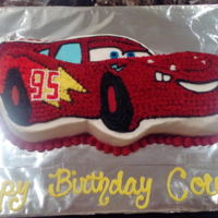 Lightening Mcqueen Vanilla cake + buttercream.
