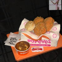 Love That Chicken At Popeyes!! Box: Vanilla Cake Chicken: Rice Krispie Treats Mashed Potato: Cheesecake filing w/ Caramel Sauces and graham cracker crumbles