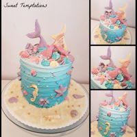 Mermaid Cake Mermaid cake for my niece birthday with swiss meringue and fondant decoration.