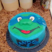 Ninja Turtle Cake. Vanilla cake, buttercream icing, and fondant cover + accents.
