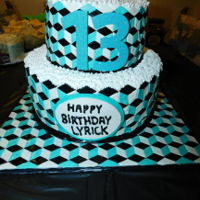 Optical Illusion 13Th Birthday Cake Cake/cake board is covered with diamonds made from modeling chocolate to create the optical illusion effect