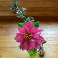 Pink Poinsettia And Pine Cones Poinsettia made using templates from Alan Dunn's book, gumpaste pine cones w/o mold or cutters, pine needles made with floral...