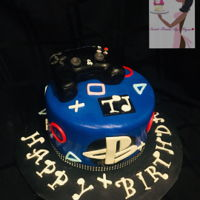 Playstation I honestly forgot what the cake filling in...lol I want to say red velvet Controller is Rice Krisipie Treats and yes, I put LED lights in...