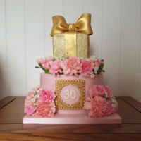 Pretty 30Th Birthday Cake My first ever cake made in september. 8inch bottom tier, 4inch square top tier.