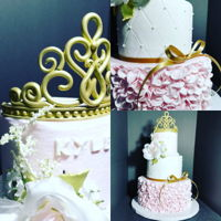 Princess 1St Birthday Cake Smooth buttercream, quilting, fondant ruffles, fondant crown painted in edible gold paint.